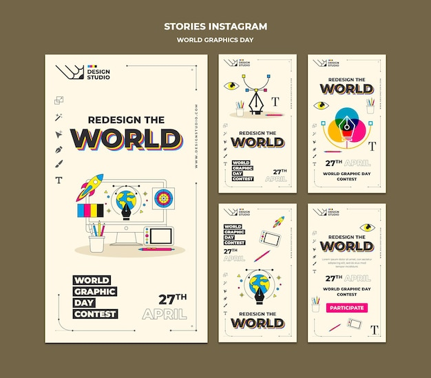 World graphics day social media stories pack