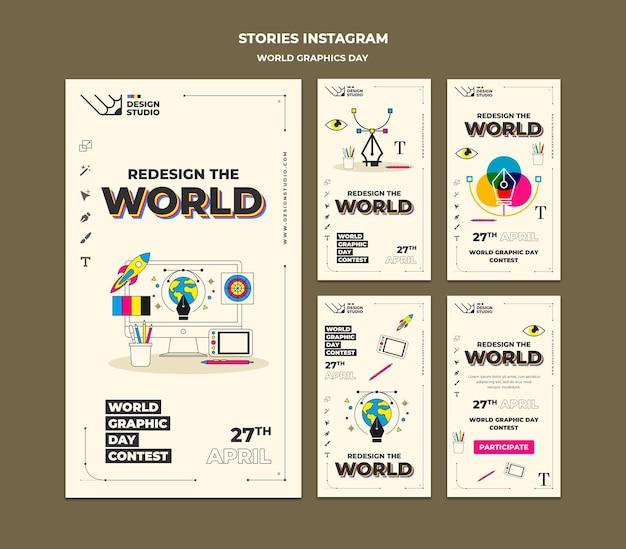 世界グラフィックデーソーシャルメディアストーリーパック