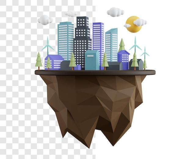 심플한 디자인으로 세계 서식지의 날 3d 일러스트 컨셉