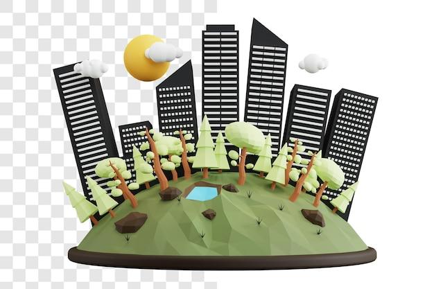 세계 서식지의 날 3d 렌더링 개념