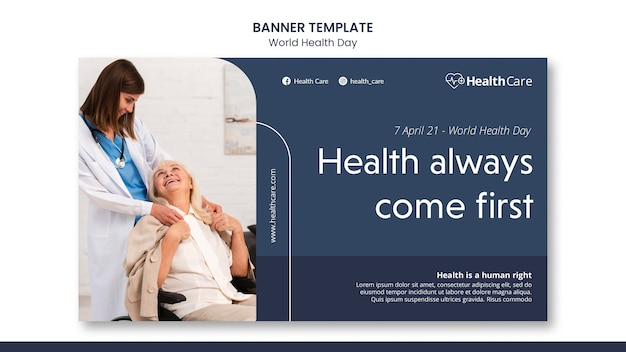 World health day banner template with photo
