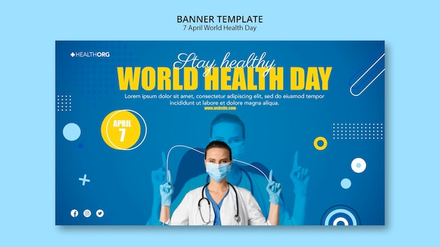 World health day banner with photo