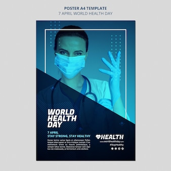 World health day flyer template with photo
