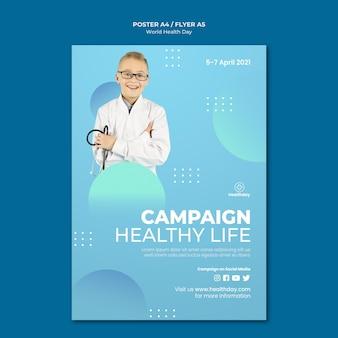 Modello di volantino della giornata mondiale della salute