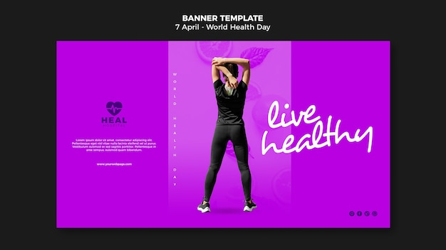 World health day horizontal banner page with photo