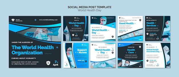 World health day instagram posts set