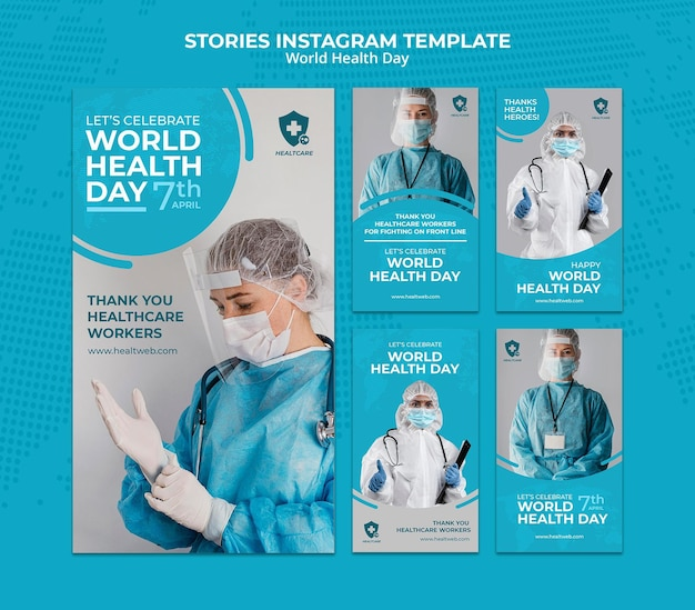 World health day instagram stories set
