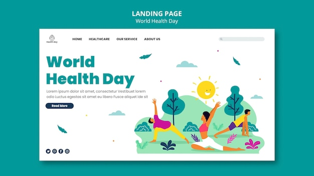 World health day landing page template