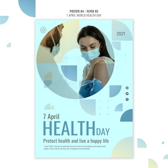 World health day poster template with photo Free Psd