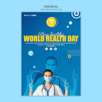 Poster della giornata mondiale della salute con foto