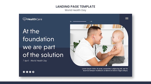 World health day web template with photo