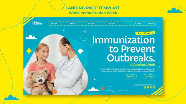 Pagina di destinazione della settimana mondiale dell'immunizzazione