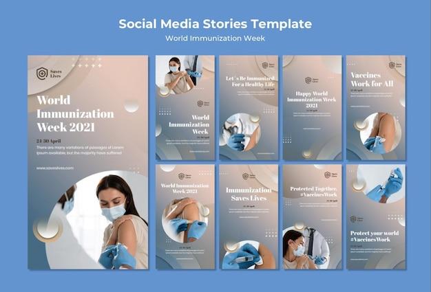Storie sui social media della settimana mondiale dell'immunizzazione
