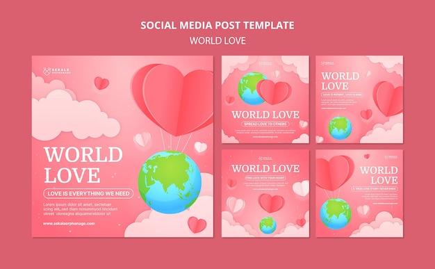 世界の愛のinstagramの投稿のデザインテンプレート