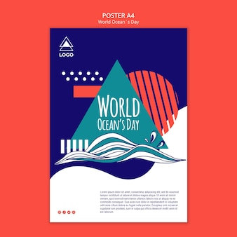 World ocean day template poster