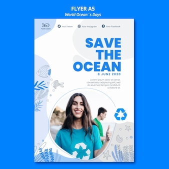 World ocean's day flyer design