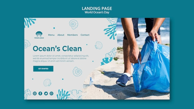 World ocean's day landing page template