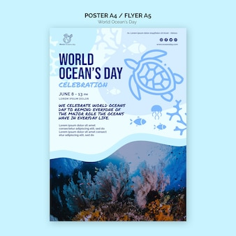 World ocean's day poster template