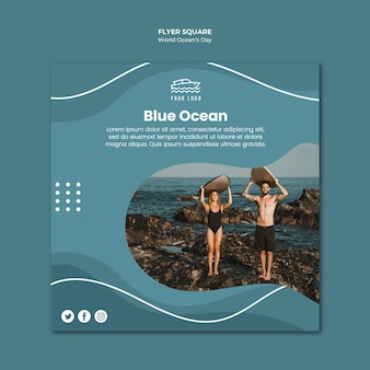 World ocean's day square flyer