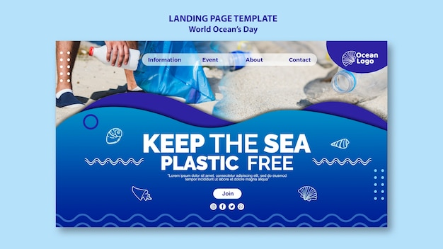 World oceans day landing page template design