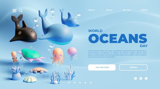 Шаблон посадочной страницы всемирного дня океанов с 3d-рендерингом морских животных
