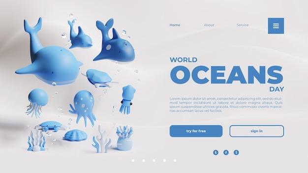 Шаблон целевой страницы всемирного дня океанов с 3d-рендерингом морских существ