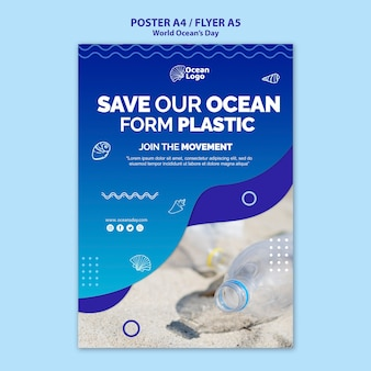 World oceans day poster template concept