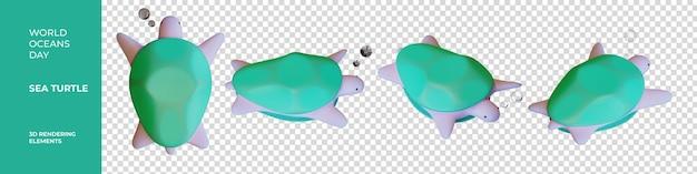 세계 해양의 날 바다 거북 3d 렌더링 요소