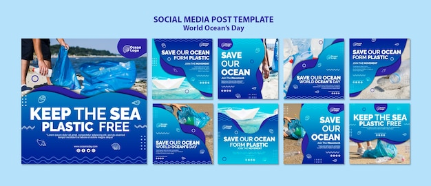World oceans day social media post template