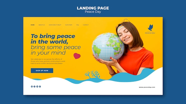 World peace day landing page template