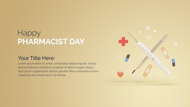 세계 약사의 날 배너 의료 3d 그림