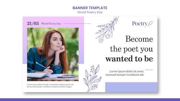 World poetry day concept banner template