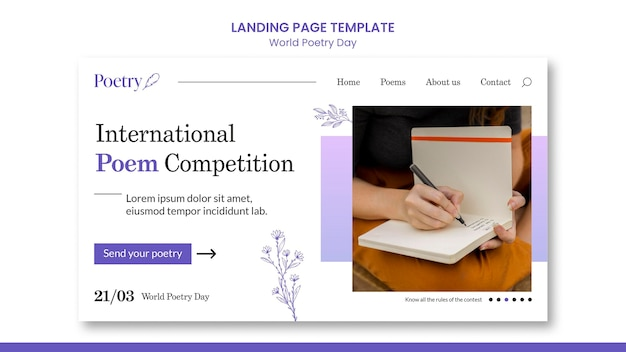 World poetry day concept landing page template