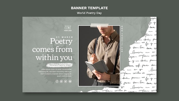 World poetry day event banner template with photo