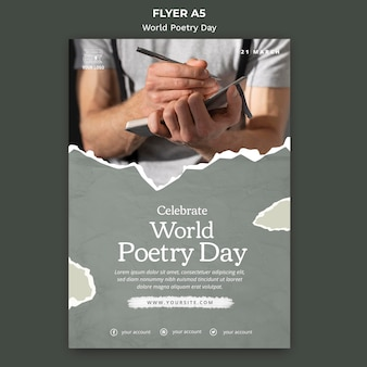 World poetry day event flyer template with photo
