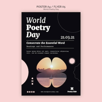 Шаблон флаера всемирного дня поэзии