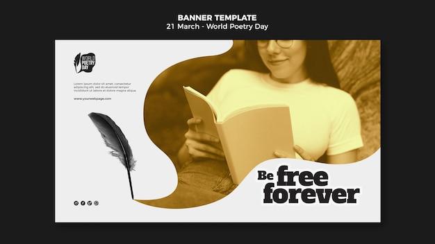 Modello di banner orizzontale evento giornata mondiale della poesia con foto