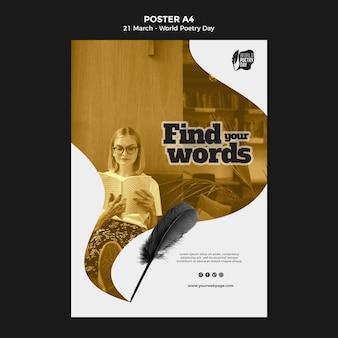 Modello di stampa evento giornata mondiale della poesia