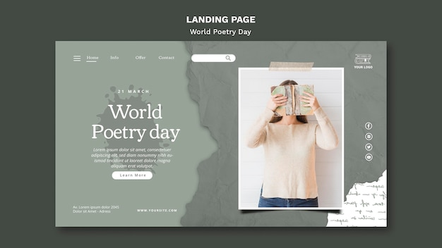 Шаблон целевой страницы всемирного дня поэзии