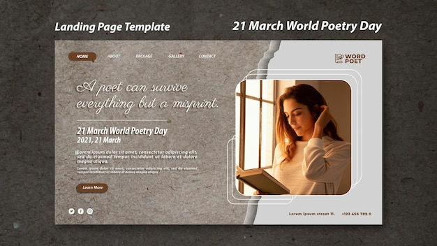 Pagina di destinazione della giornata mondiale della poesia
