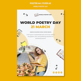 World poetry day poster template