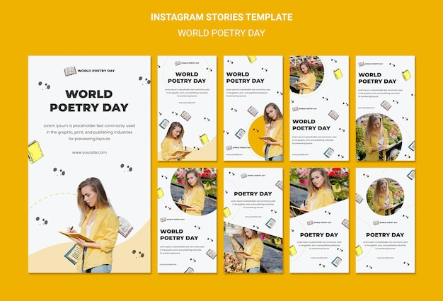 World poetry day social media stories template
