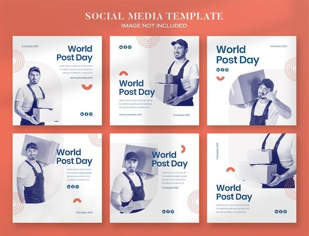 Баннер в социальных сетях всемирного дня почты и шаблон поста в instagram