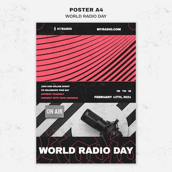 世界のラジオの日チラシテンプレート