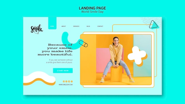 World smile day concept landing page template