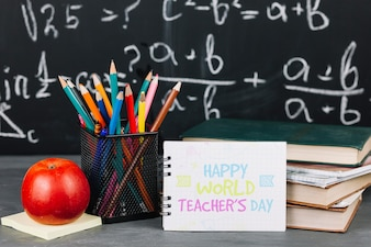 World teacher day mockup with booklet