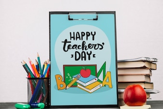 World teacher day mockup with clipboard