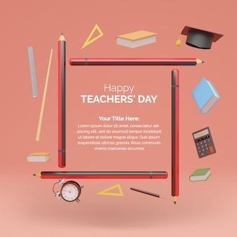 Шаблон всемирного дня учителя с карандашом для 3d-рендеринга и книгами