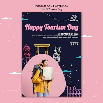 Modello di poster della giornata mondiale del turismo