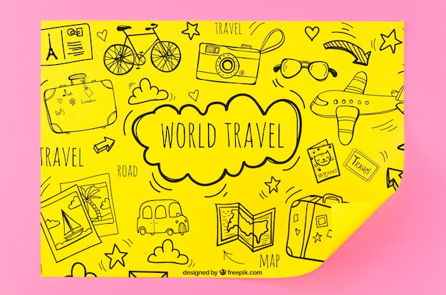World travel sketches mock-up